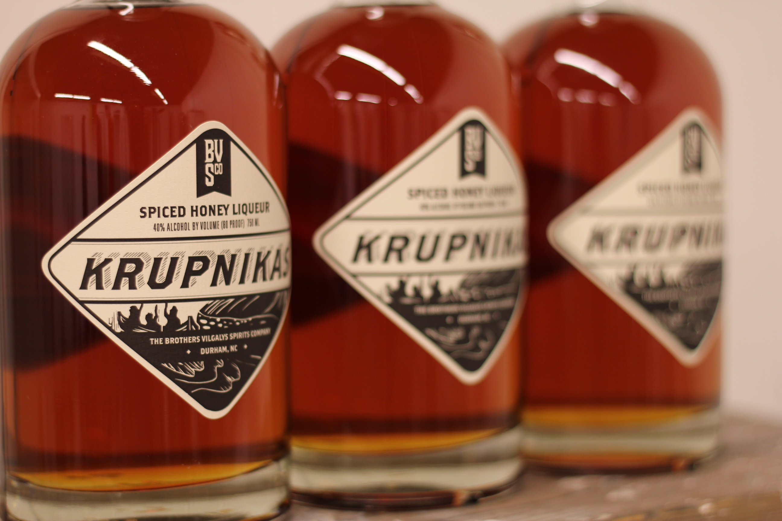 Brothers Vilgalys Krupnikas, a Spiced Honey Liqueur made in Durham, NC.